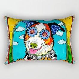 Happy Border Collie Rectangular Pillow