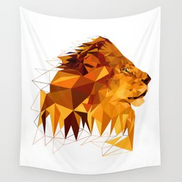 Geometric Lion Wild animals Big cat Low poly art Brown and Yellow Wall Tapestry