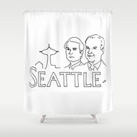 seattle Shower Curtains featuring Seattle by elle stone