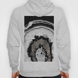 Gray Black White Agate with Silver Glitter #2 #gem #decor #art #society6 Hoody