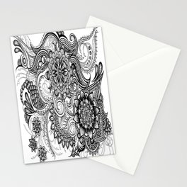 Freeform Black and White Ink Drawing Stationery Cards