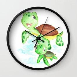 turtle baby and mom, nautical wall decor, ocean themed nursery, sea turtle, sea animals watercolor Wall Clock