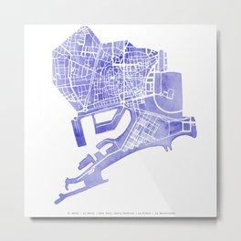 Barcelona map: Ciutat Vella (indigo) Metal Print