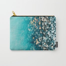 Abstract Turquoise Ocean, Aerial Blue Sea Print, Large Ocean Poster, Coastal Wall Art, Beach Decor Carry-All Pouch