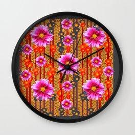 Purple Dahlias on Red & Orange Pattern Art Wall Clock