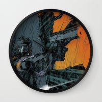 metal gear Wall Clocks featuring METAL GEAR Ground Zeroes by Toni Infante