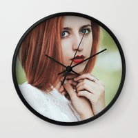 ginger Wall Clocks featuring Ginger by Jovana Rikalo