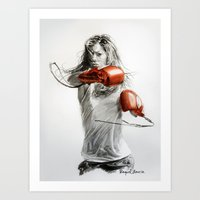 boxing Art Prints featuring Boxing by Raquel García Maciá