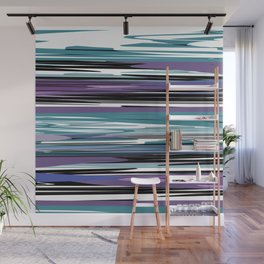 Abstract stripes in blue Wall Mural