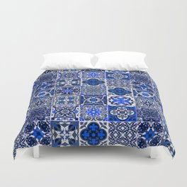 -A34- Blue Traditional Floral Moroccan Tiles. Duvet Cover