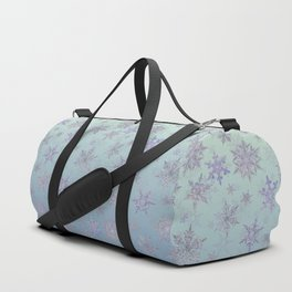 Snowflakes Embroidered on Misty Sky Duffle Bag