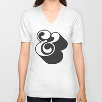 ampersand V-neck T-shirts featuring Ampersand by Mark Caneso