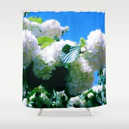 Blue Snowball Branch Shower Curtain
