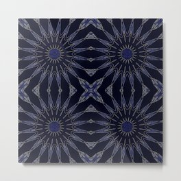Blue & Black Flowers Metal Print