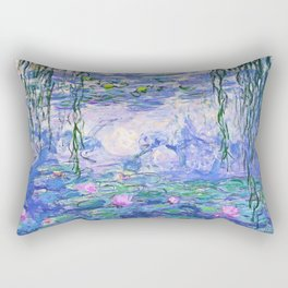 Claude Monet Water Lilies French Impressionist Art Rectangular Pillow