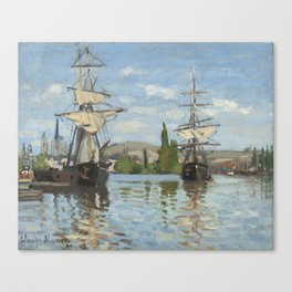 Claude Monet Ships Riding on the Seine at Rouen 18721873 Painting Canvas Print