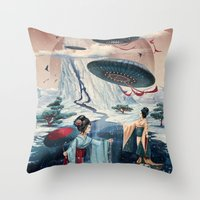 ice Throw Pillows featuring Holiday ice by Tanya_tk