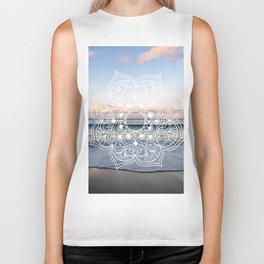 Flower shell mandala - shoreline Biker Tank