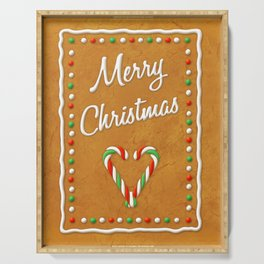 Merry Christmas Gingerbread Biscuit Serving Tray