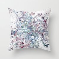 minneapolis Throw Pillows featuring Minneapolis map by MapMapMaps.Watercolors