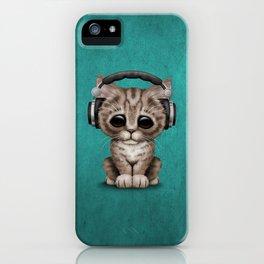 Cute Kitten Dj Wearing Headphones on Blue iPhone Case