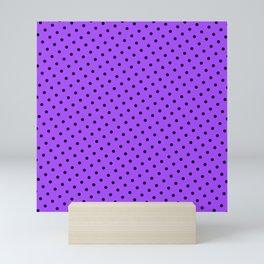 Pastel Goth Pastel Purple Retro Polka Dot (Black) Mini Art Print