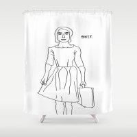 shit Shower Curtains featuring SHIT by Heidi Von