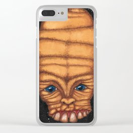 Unhinged face Black Background Clear iPhone Case