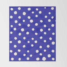 Hand-Drawn Dots (White & Navy Blue Pattern) Throw Blanket
