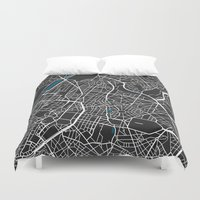 brussels Duvet Covers featuring Brussels city map black colour by MCartography
