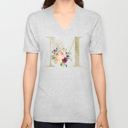 M Monogram Gold Foil Initial with Watercolor Flowers Unisex V-Neck
