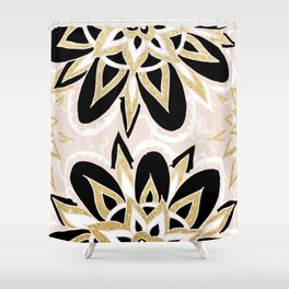 Modern black gold pink abstract floral pattern Shower Curtain