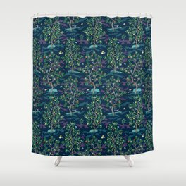 Citrus Grove Mural Navy Shower Curtain