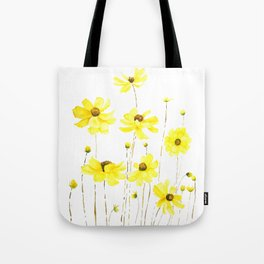 yellow cosmos flowers watercolor Tote Bag