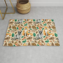 Woodland Creatures Illustrated Watercolor Pattern Rug