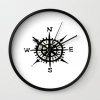 compass Wall Clocks featuring COMPASS by MrWhite
