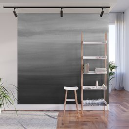 Touching Black Gray White Watercolor Abstract #1 #painting #decor #art #society6 Wall Mural