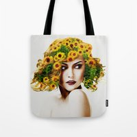 sunflowers Tote Bags featuring Sunflowers by EclipseLio