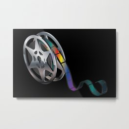 Movie reel with colorful tape Metal Print