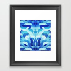 Abstract geometric triangle pattern (futuristic future symmetry) in ice blue Framed Art Print