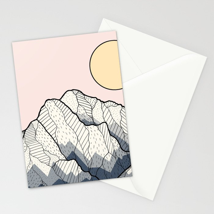 The sun and mountain Stationery Cards