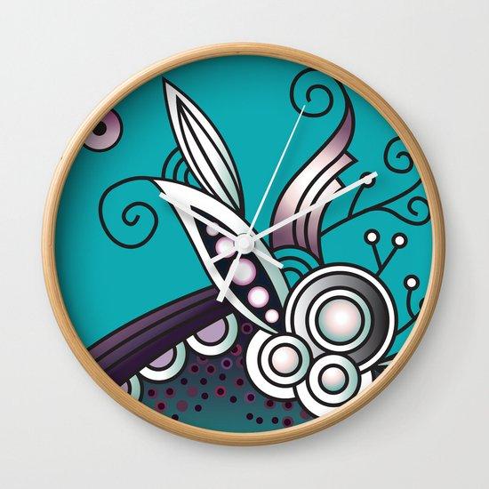 Ornate square zentangle, Celadon turquoise Wall Clock