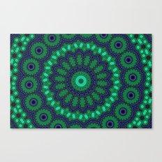 Lovely Healing Mandalas in Brilliant Colors: Black, Royal Blue, Dark Green, and Russian Green Canvas Print