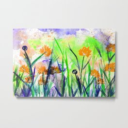 Flower Field Orange Blossom Metal Print