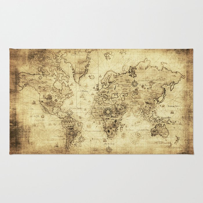 Old world map rug by foxxmap society6 old world map rug gumiabroncs Image collections
