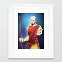 aang Framed Art Prints featuring Avatar Aang by Meder Taab