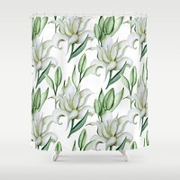 lily Shower Curtains featuring Lily by Julia Badeeva