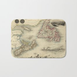 Map of Newfoundland 1851 Bath Mat