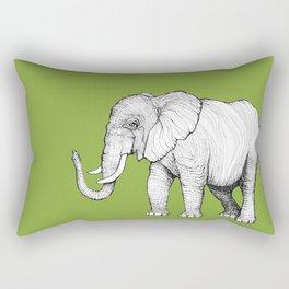 Elephant on Bright Olive Rectangular Pillow