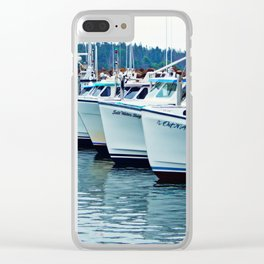 Fishing Boats in a Row Clear iPhone Case